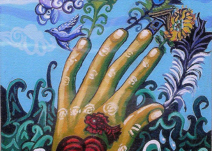 Hand Greeting Card featuring the painting Le Destin Du Humain by Genevieve Esson