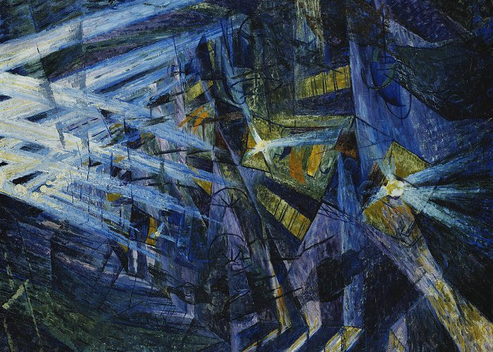 Beam; Black; Black Colour; Black Color; Blue; Boccioni; Bystander; City Life; Color; Colour; Confused; Confusion; Human Likeness; Impressionist & Modern Art; Interior; Italian Art; Italian Artist; Law Enforcement; Light; Modern Art; Movement; Moving; Mysterious; Mystery; Mystique; Nature; Natural Light; Neighbourhood; Night; Nocturnal; Oil; Oil On Canvas; Refraction; Representation; Road Transport; Run; Running; Shadow; Shadows; Street; Street Scene; Streetscene; Thoroughfare; Time Of Day; Greeting Card featuring the painting Le Forze Di Una Strada by Umberto Boccioni