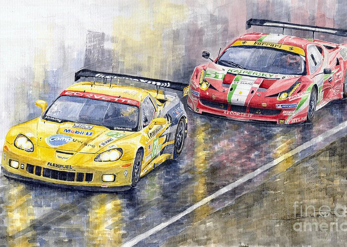 Watercolor Greeting Card featuring the painting 2011 Le Mans GTE Pro Chevrolette Corvette C6R vs Ferrari 458 Italia by Yuriy Shevchuk