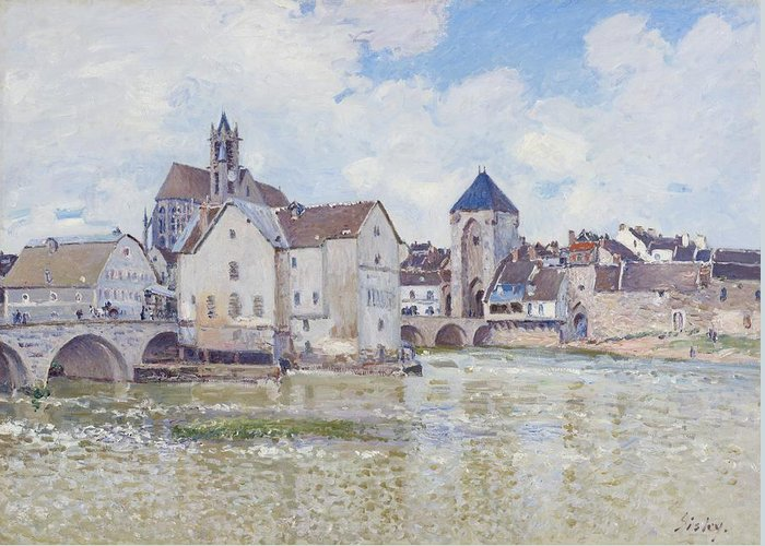 Alfred Sisley Greeting Card featuring the painting Le Pont De Moret by Alfred Sisley