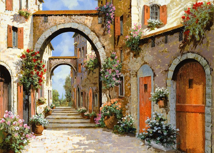 Landscape Greeting Card featuring the painting Le Porte Rosse Sulla Strada by Guido Borelli