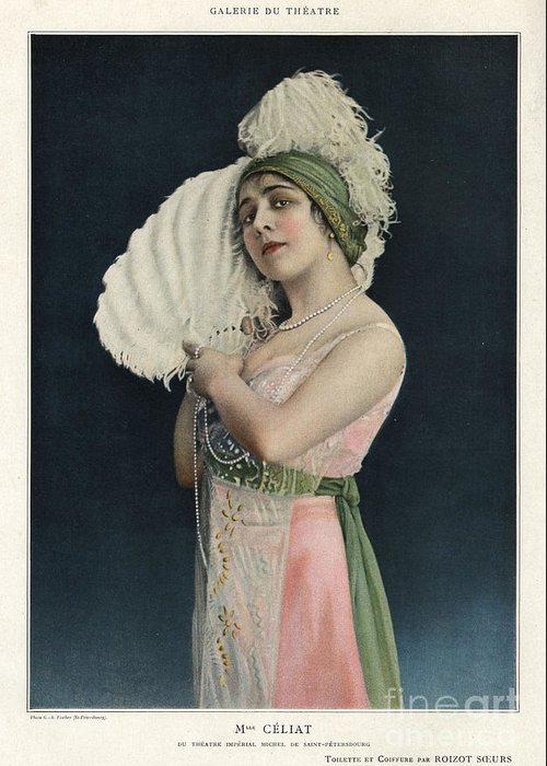 1910�s Greeting Card featuring the drawing Le Theatre 1912 1910s France Mlle by The Advertising Archives
