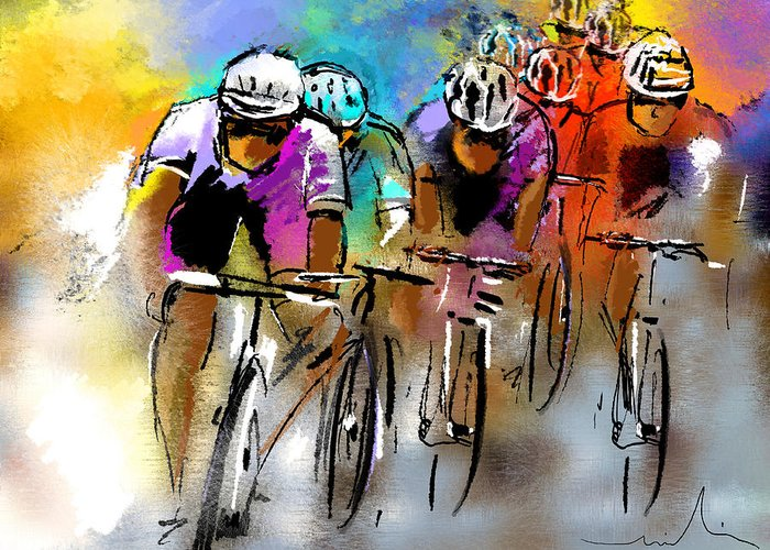 Sports Greeting Card featuring the painting Le Tour De France 03 by Miki De Goodaboom