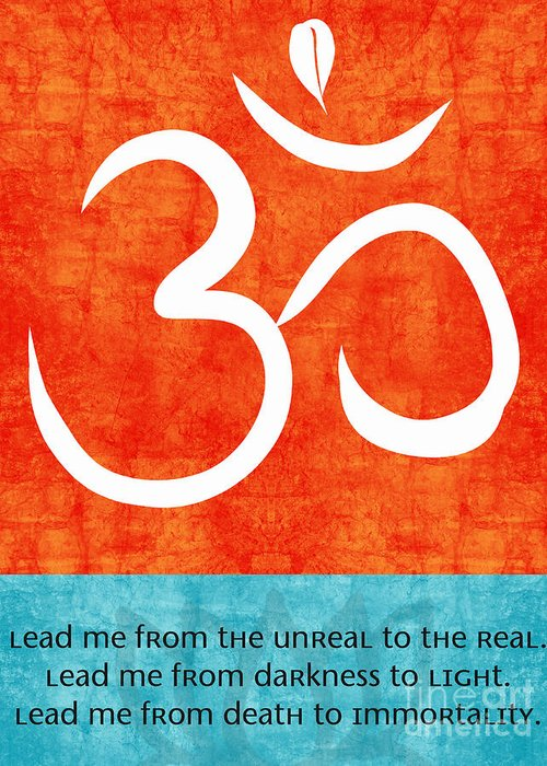 Om Greeting Card featuring the painting Lead Me by Linda Woods