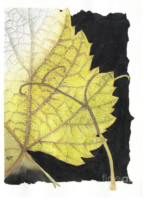 Foliage Greeting Card featuring the painting Leaf by Elena Yakubovich