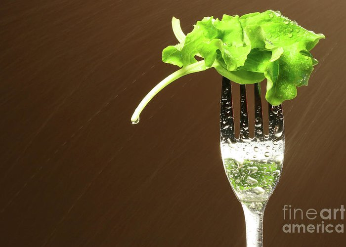 White Greeting Card featuring the photograph Leaf Of Lettuce On A Fork by Sandra Cunningham