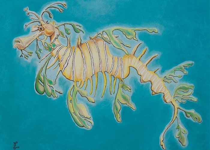 Leafy Sea Dragon Greeting Card featuring the painting Leafy Sea Dragon by Yabette Swank