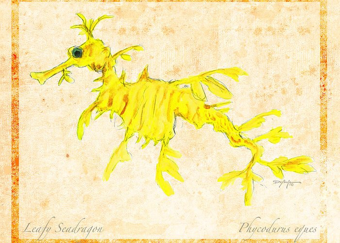 Leafy Sea Dragon Mixed Media Greeting Cards