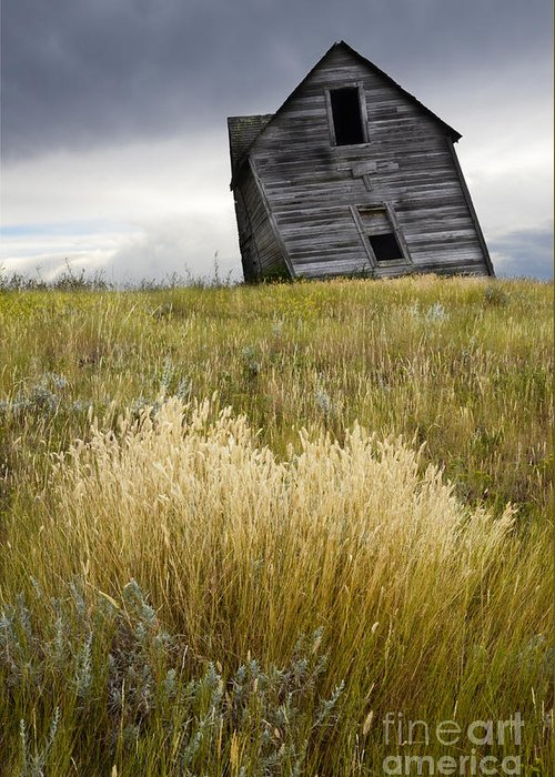 Homestead Greeting Card featuring the photograph Leaning A Little by Bob Christopher