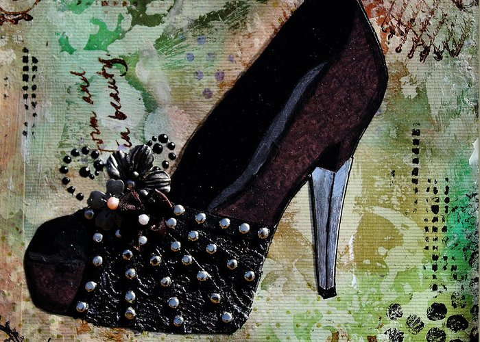 Shoe Mixed Media Greeting Cards