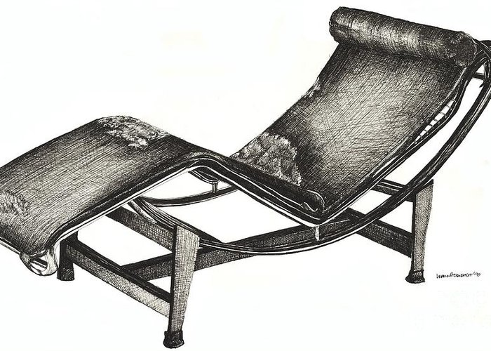 Chaise Longue Greeting Card featuring the drawing Leather Chaise Longue by Adendorff Design