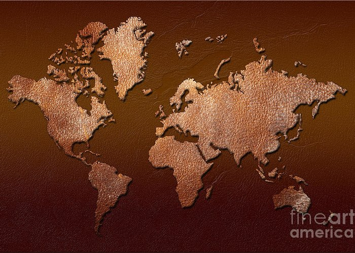 world Map Greeting Card featuring the digital art Leather World Map by Zaira Dzhaubaeva