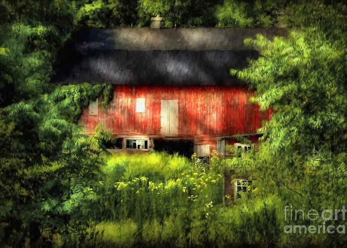 Barn Greeting Card featuring the photograph Leave Our Farms by Lois Bryan