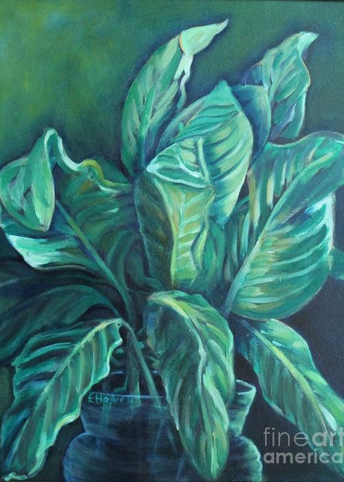 Green Greeting Card featuring the painting Leaves In A Vase by Ellen Howell