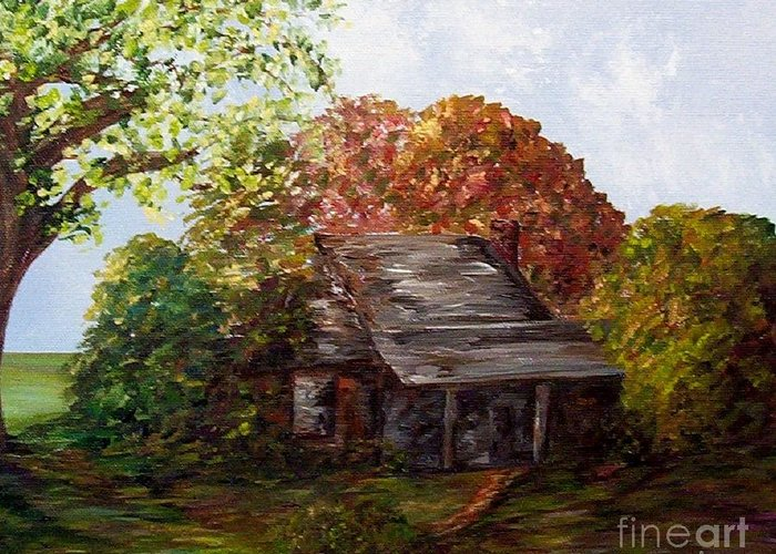 Log Greeting Card featuring the painting Leaves On The Cabin Roof by Eloise Schneider