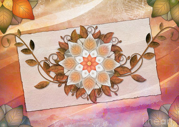Brown Greeting Card featuring the digital art Leaves Rosette 2 by Bedros Awak