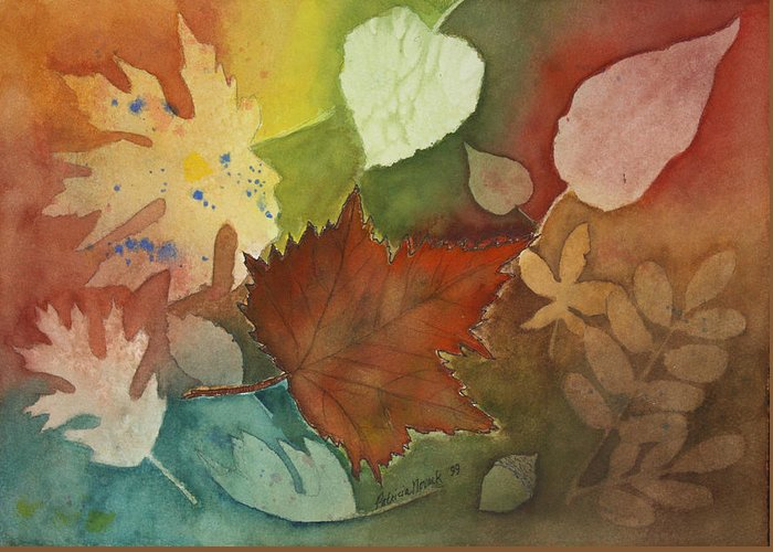 Leaves Greeting Card featuring the painting Leaves Vl by Patricia Novack