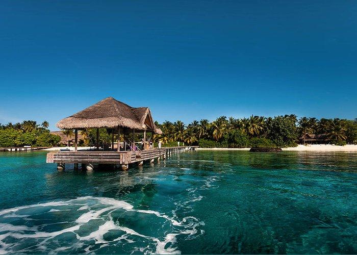 Tropic Greeting Card featuring the photograph Leaving Kuramathi Resort. Maldives by Jenny Rainbow