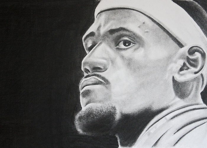 King James Greeting Card featuring the drawing Lebron by Don Medina