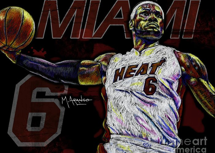 Lebron Greeting Card featuring the digital art Lebron James by Maria Arango