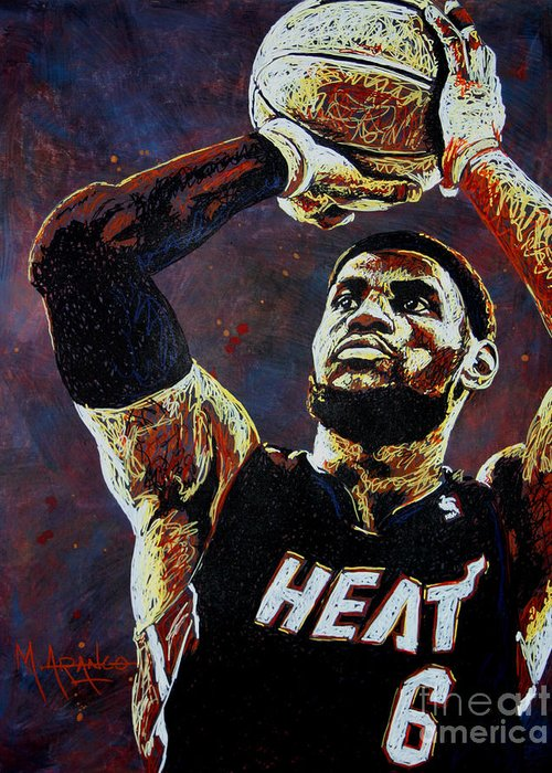 Lebron Greeting Card featuring the painting Lebron James Mvp by Maria Arango
