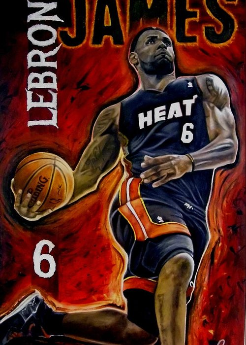 Lebron James Greeting Card featuring the painting Lebron James Oil Painting-original by Dan Troyer