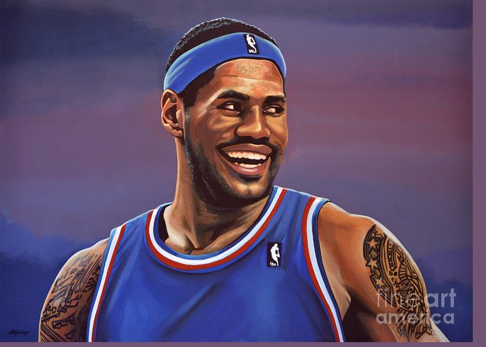 Lebron James Greeting Card featuring the painting Lebron James by Paul Meijering