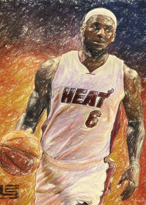 Lebron James Greeting Card featuring the painting Lebron James by Taylan Apukovska