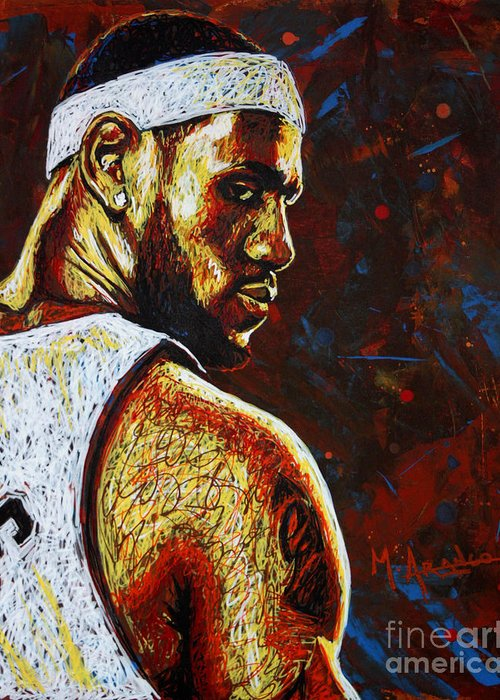 Lebron Greeting Card featuring the painting Lebron by Maria Arango