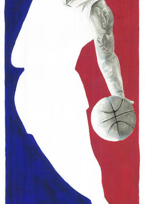Lebron James Greeting Card featuring the painting Lebron Nba Logo by Tamir Barkan