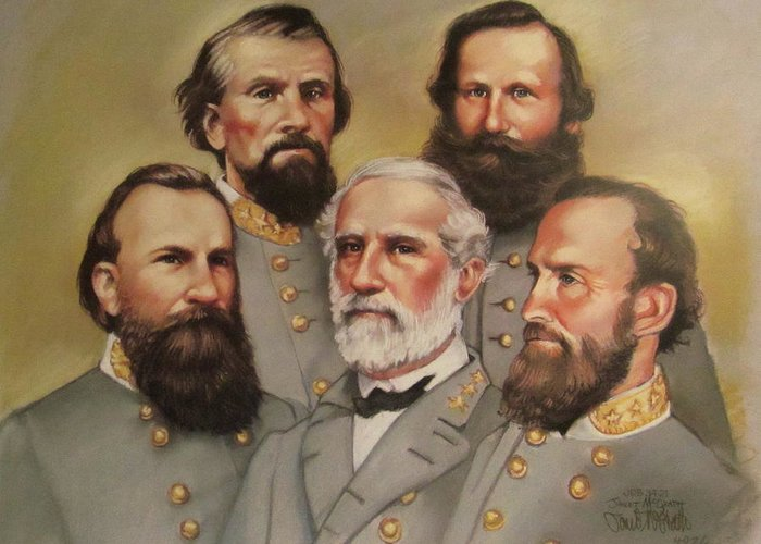 R.e.lee Greeting Card featuring the painting Lee And His Valiant Men by Janet McGrath