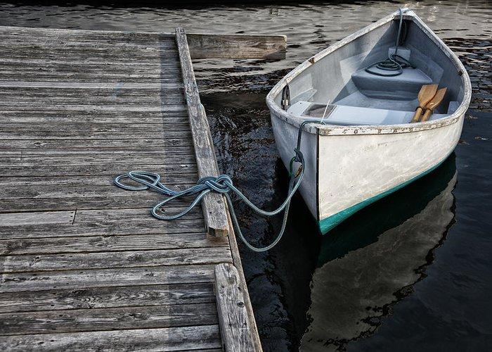 Boat Greeting Card featuring the photograph Left At The Dock by Karol Livote