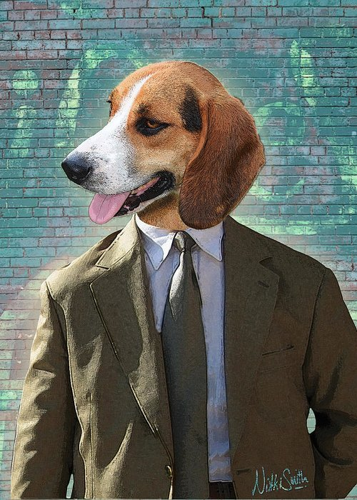 Legal Greeting Card featuring the digital art Legal Beagle by Nikki Smith