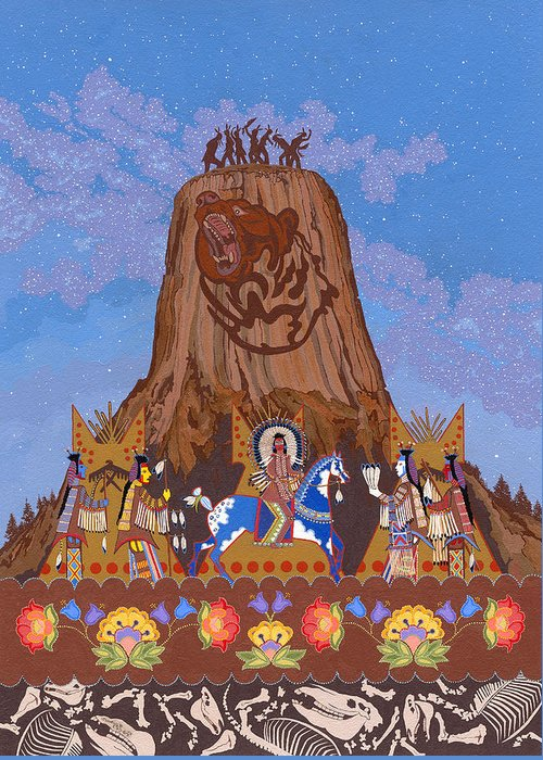 America Greeting Card featuring the painting Legend of Bear's Tipi by Chholing Taha