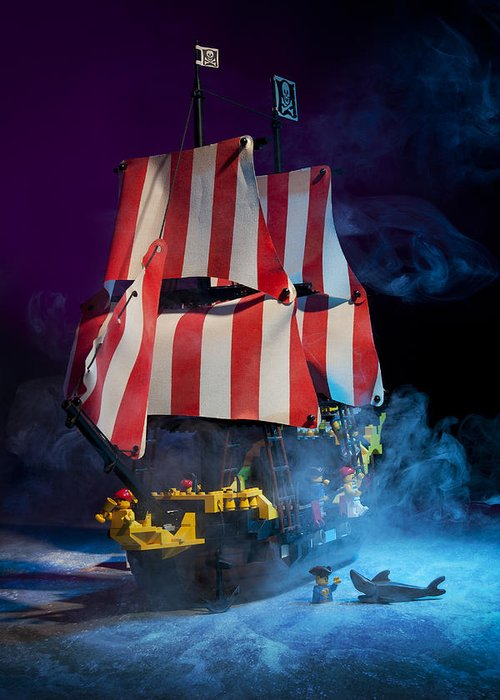 Pirate Ship Greeting Card featuring the photograph Lego Pirate Ship by Samuel Whitton