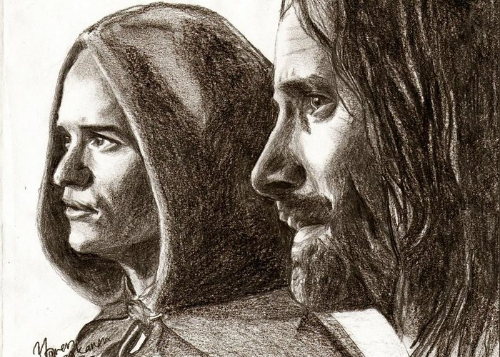 The Lord Of The Rings Greeting Card featuring the drawing Legolas And Aragorn by Maren Jeskanen