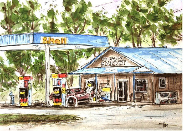 Leipers Fork Greeting Card featuring the painting Leipers Fork Market by Tim Ross