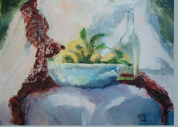 Kitchen Dining Room Still-life Fruitbowl Glass Bottle Greeting Card featuring the painting Lemon And Lace by Bryan Alexander