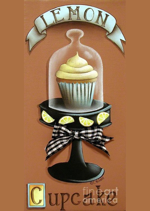 Art Greeting Card featuring the painting Lemon Cupcake by Catherine Holman