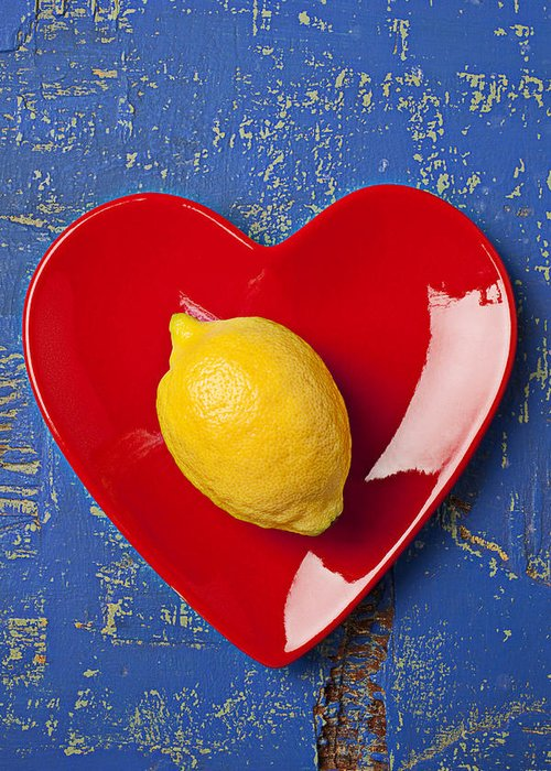 Yellow Lemon Greeting Card featuring the photograph Lemon Heart by Garry Gay