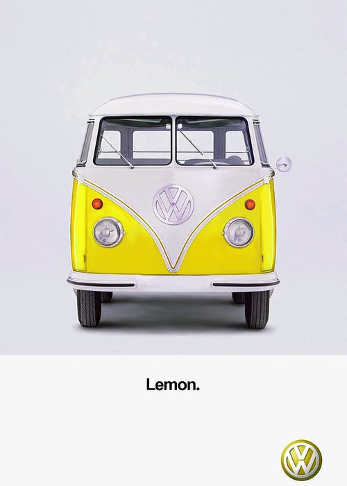 Vw Camper Van Greeting Card featuring the photograph Lemon by Mark Rogan