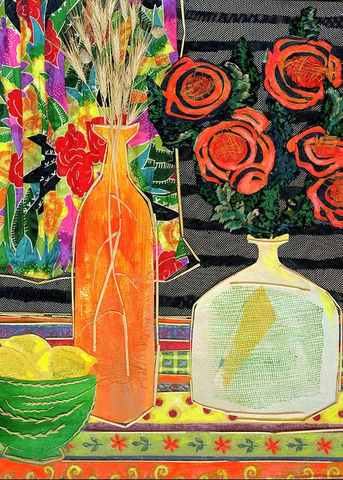 Flowers In A Vase Greeting Card featuring the mixed media Lemon Squash And Pumpkin by Diane Fine