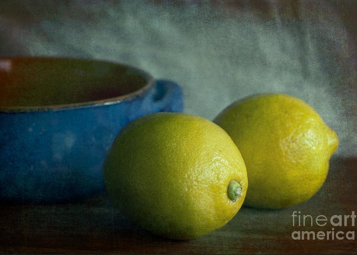 Lemon Greeting Card featuring the photograph Lemons And Blue Terracotta Pot by Elena Nosyreva