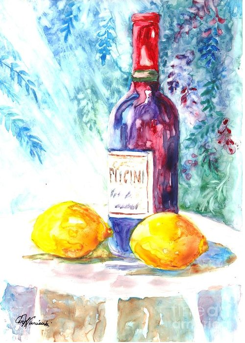 Wine Greeting Card featuring the painting Lemons And Wine And A Little Sunshine by Carol Wisniewski