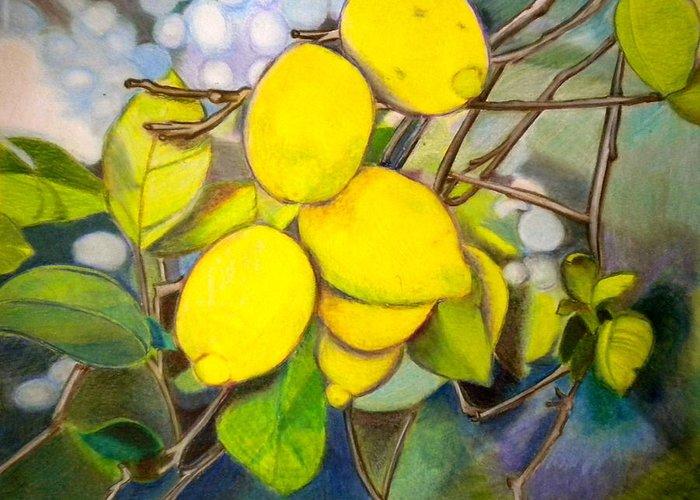 Lemons Greeting Card featuring the painting Lemons by Debi Starr