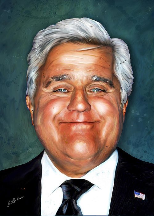 Jay Leno Portrait Greeting Cards