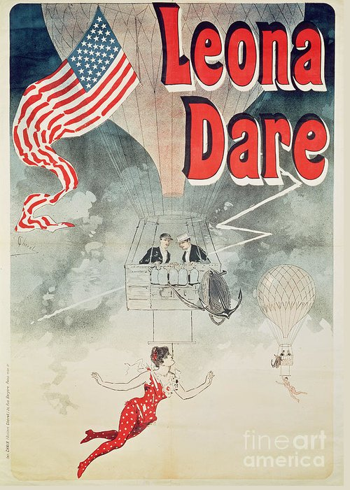 Stars And Stripes Greeting Card featuring the painting Leona Dare by Jules Cheret