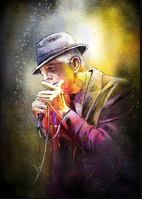 Leonard Cohen Greeting Card featuring the painting Leonard Cohen 02 by Miki De Goodaboom