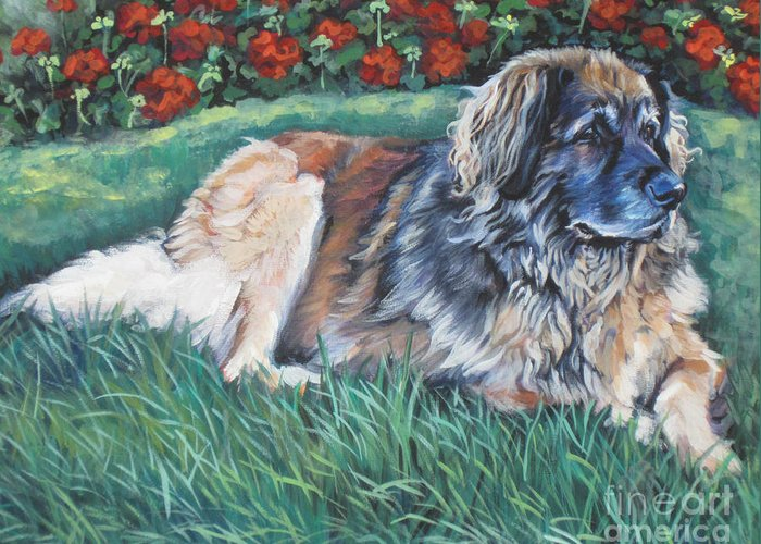 Leonberger Greeting Card featuring the painting Leonberger by Lee Ann Shepard