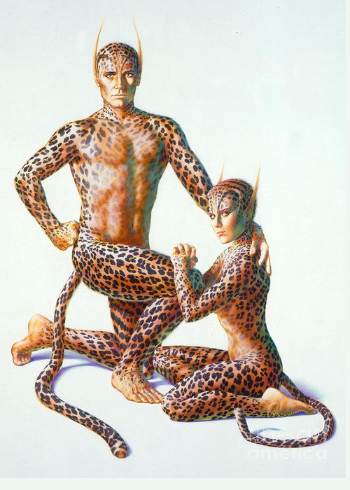 80's Greeting Card featuring the photograph Leopard People by Andrew Farley